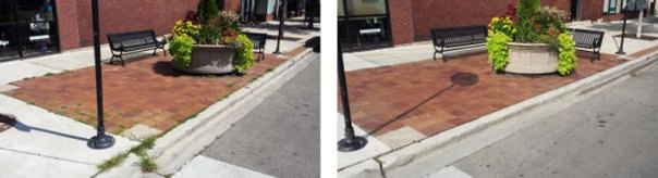 Weeds in sidewalk cracks and pavers in Andersonville have been removed by Cleanstreet without chemicals or gas powered machines.